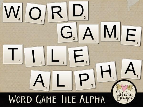Word Game Tile Digital Scrapbook Alpha