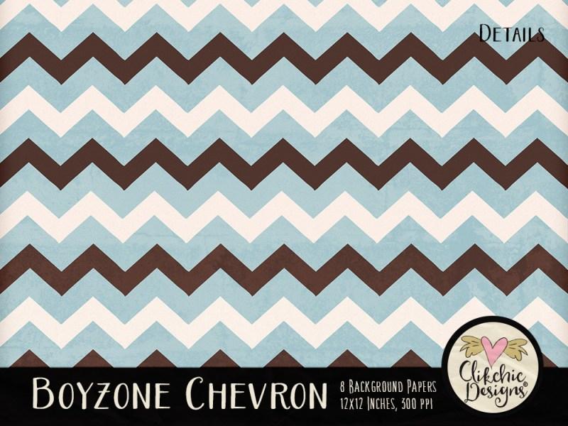 Boyzone Chevron Digital Scrapbook Paper Pack