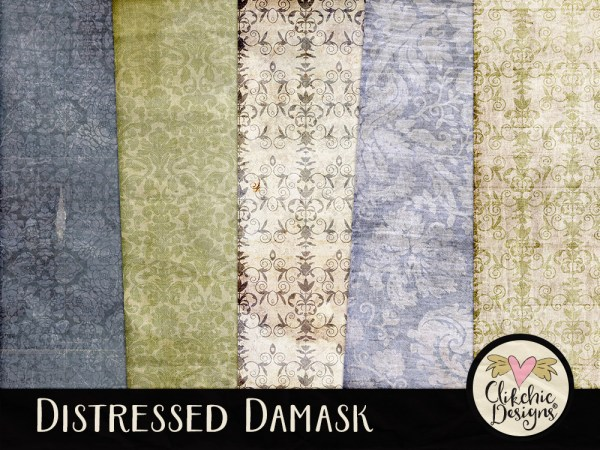 Distressed Damask Digital Scrapbook Paper Pack