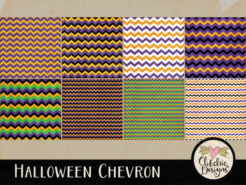 Halloween Chevron Digital Paper Pack