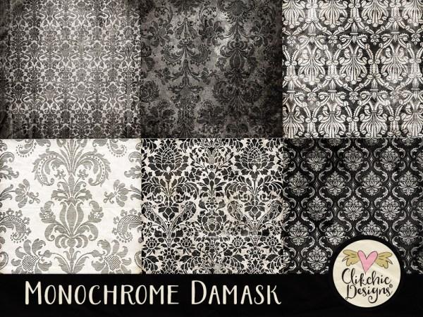 Monochrome Damask Digital Scrapbook Paper Pack