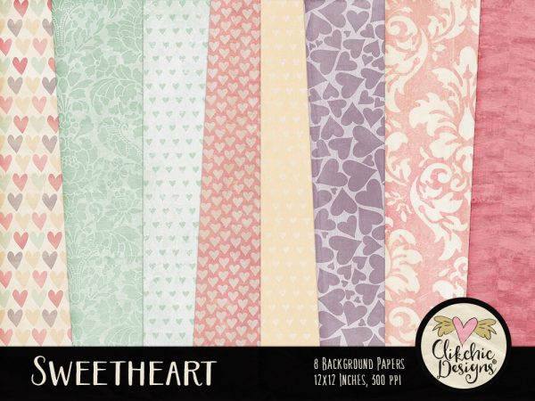 Sweetheart Digital Scrapbook Paper pack