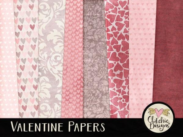 Valentine Digital Scrapbook Paper Pack