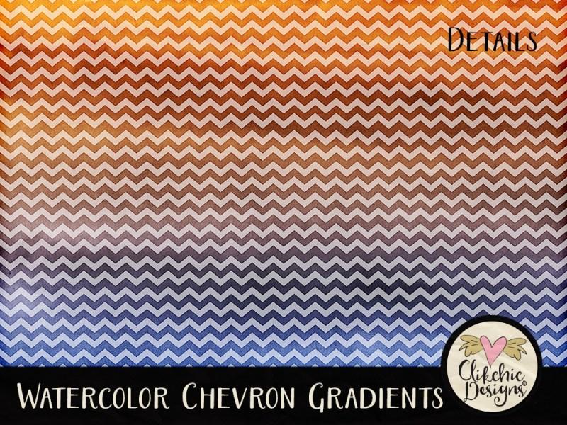 Watercolor Chevron Gradients Digital Scrapbook Paper Pack