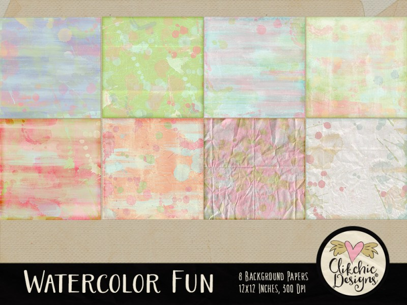 Watercolor Fun Digital Paper Pack