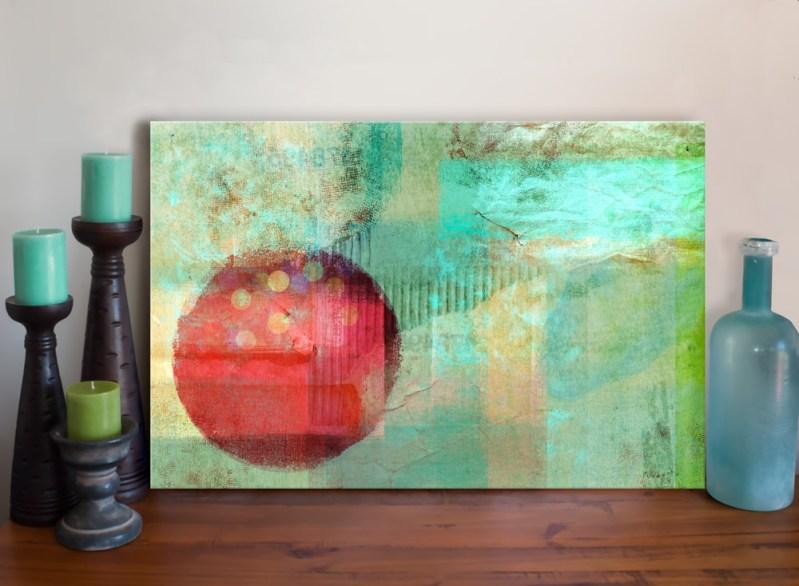 Abstract Circle Mixed Media Art Canvas