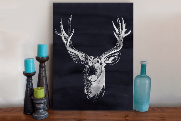 Charcoal Watercolor Deer Art Print