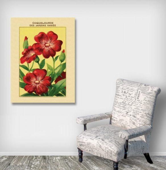 Coquelourde Ephemera Retro Flower Art Canvas