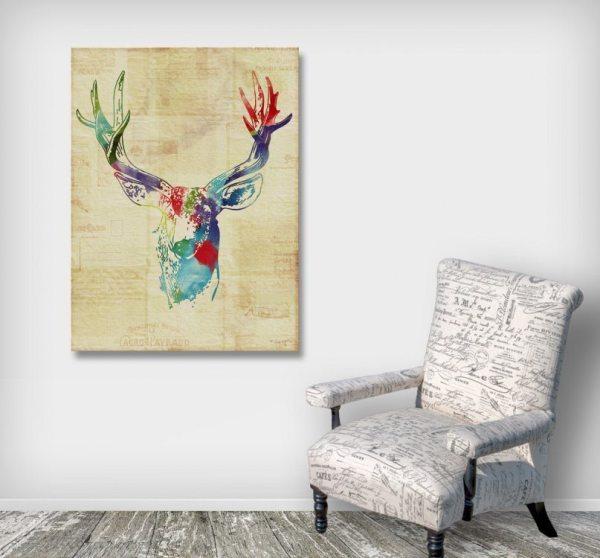 Deer Buck Mixed Media Art Canvas