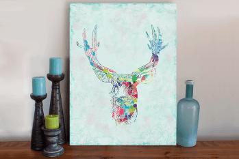 Splattered Deer Art Canvas