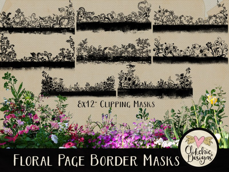 Floral Page Borders Photoshop Clipping Masks