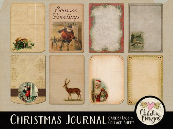 Digital Scrapbook Christmas Journal Cards & Printable Tags Collage Sheet