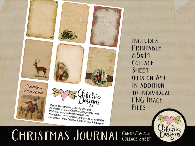 Christmas Digital Scrapbook Journal Cards and Printable Tags Collage Sheet