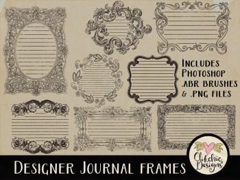 Designer Journal Frames and Photoshop Brushes