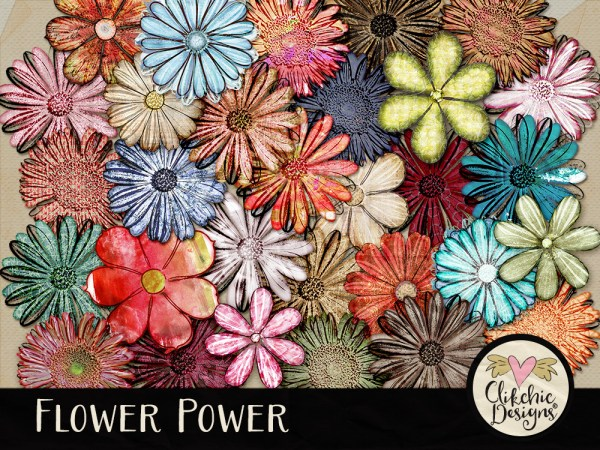 Flower Power Digital Scrapbook Elements
