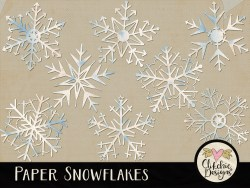 Paper Snowflakes Digital Scrapbook Elements