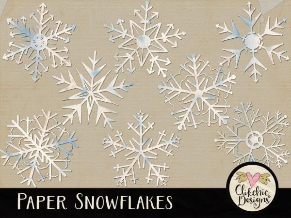 Paper Snowflakes Digital Scrapbook Elements
