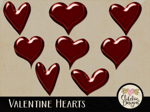 Valentine Hearts Digital Scrapbook Elements