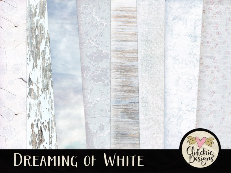 Dreaming of White Winter & Christmas Digital Scrapbook Kit