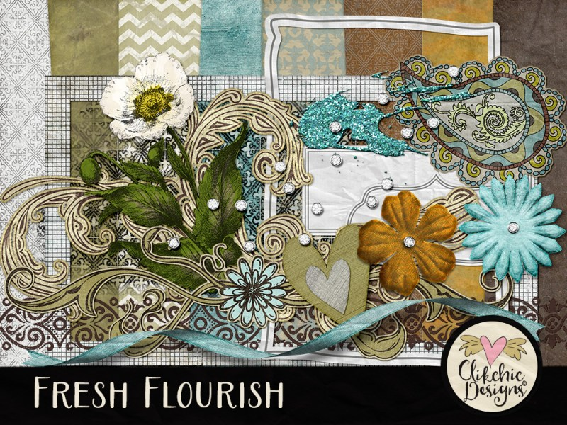 Fresh Flourish Digital Scrapbook Kit