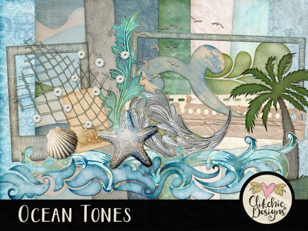 Ocean Tones Digital Scrapbook Kit
