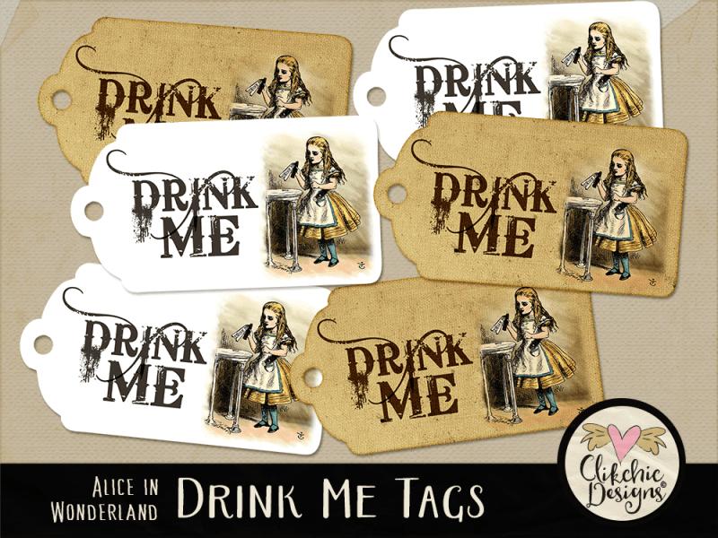 Drink Me Alice In Wonderland Printable Tags
