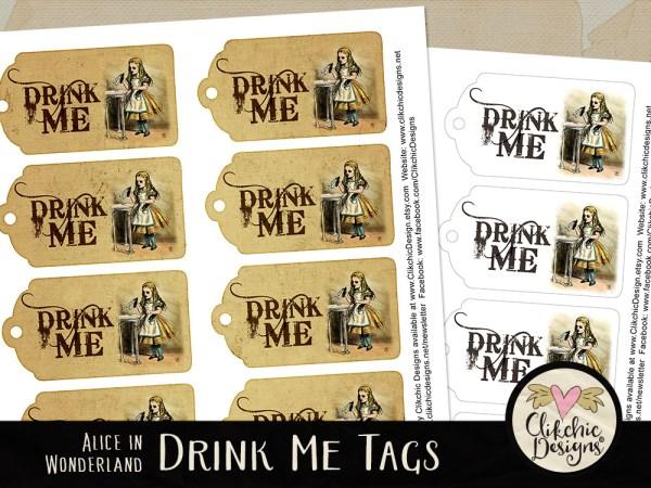 Alice In Wonderland Printable Drink Me Tags