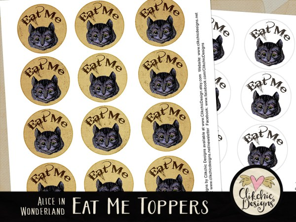 Alice In Wonderland Printable Eat Me Cheshire Cat Cake Toppers