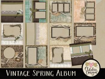 Vintage Spring Digital Scrapbook Quick Page Album