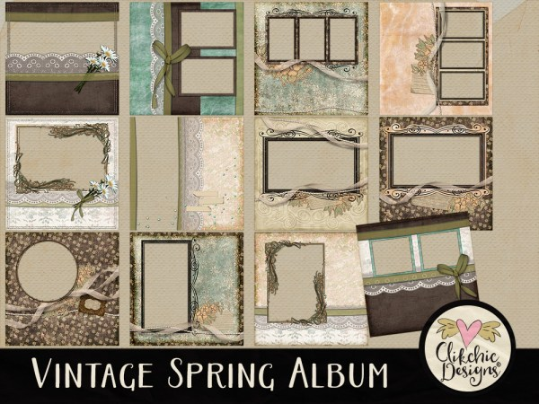Vintage Spring Digital Scrapbook Quick Page Album
