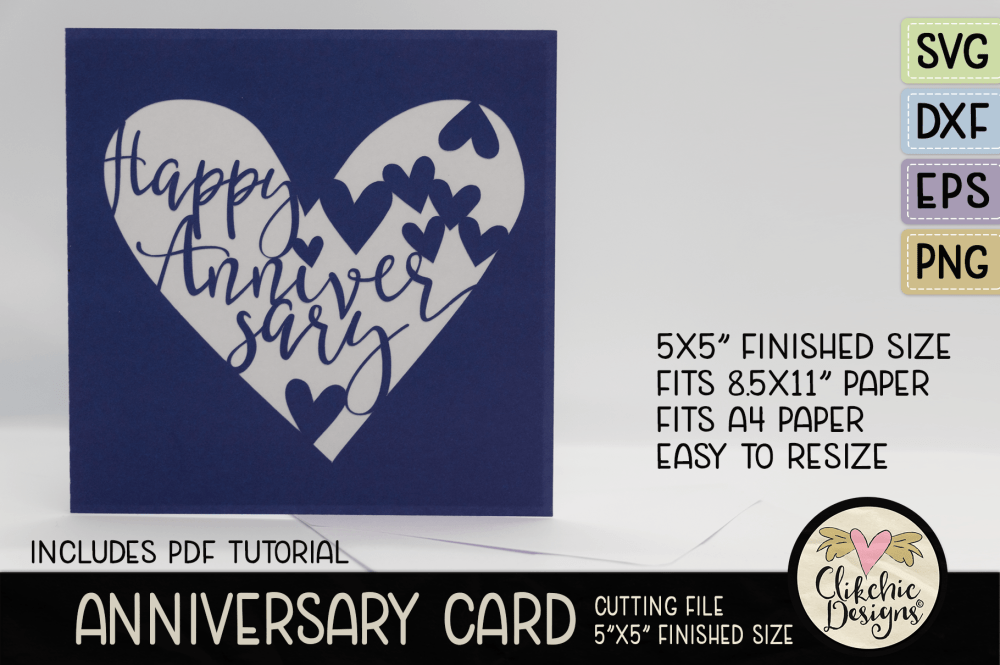 Happy Anniversary Card SVG Cutting Files