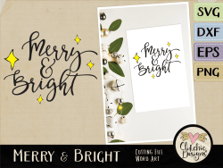 Merry and Bright Vector Word Art & SVG Cutting Files