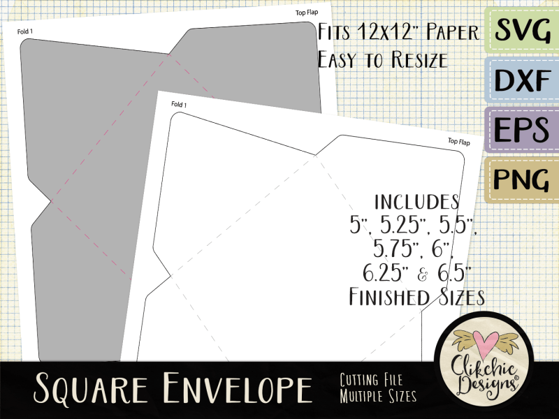 Square Envelope SVG Cutting File Template