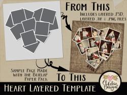 Heart Photos Layered Template
