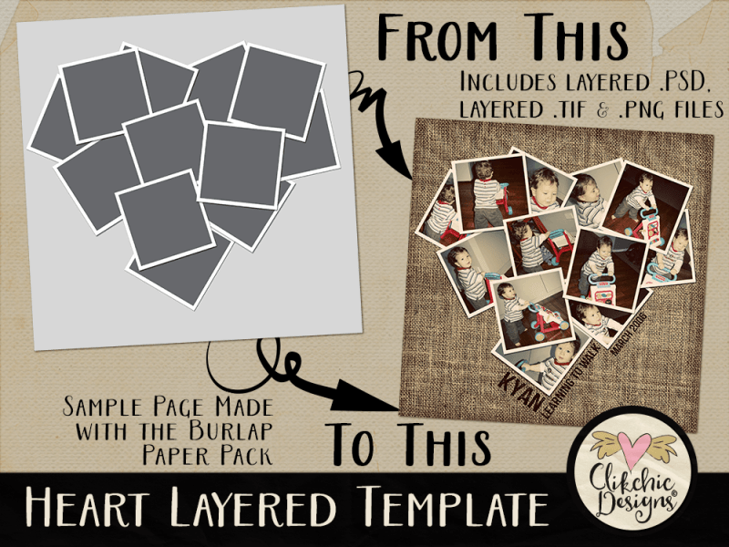 Heart Photo Layered Template