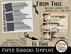 Paper Ribbons Layered Photoshop Template