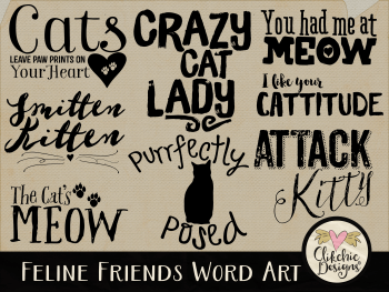 Feline Friends Word Art