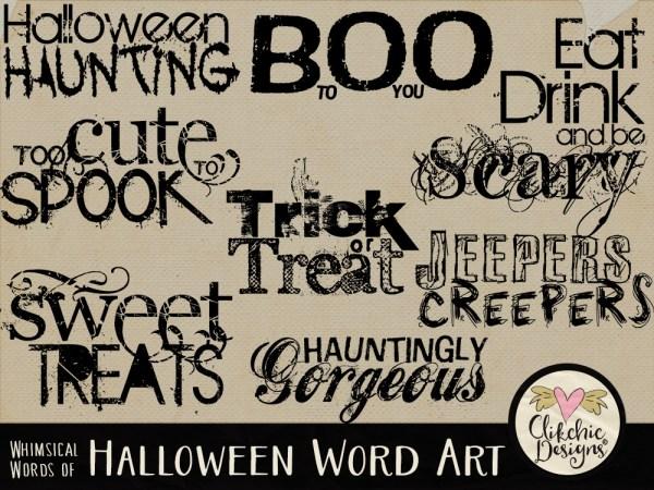 Whimsical Words of Halloween Word Art