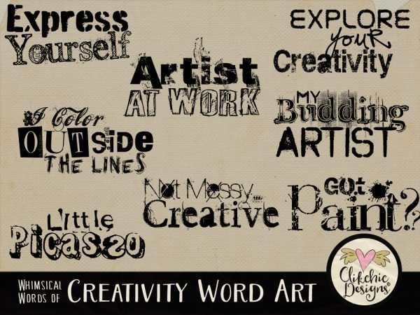 Whimsical Words of Creativity Word Art