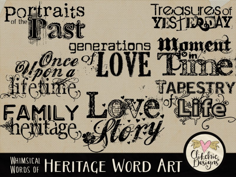 Whimsical Words of Heritage Word Art