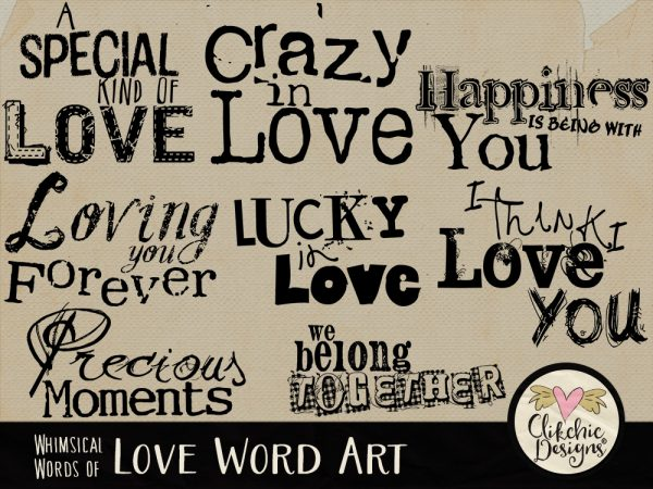Whimsical Words of Love Word Art