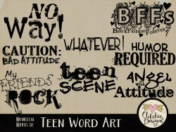 Whimsical Words of Teen Word Art