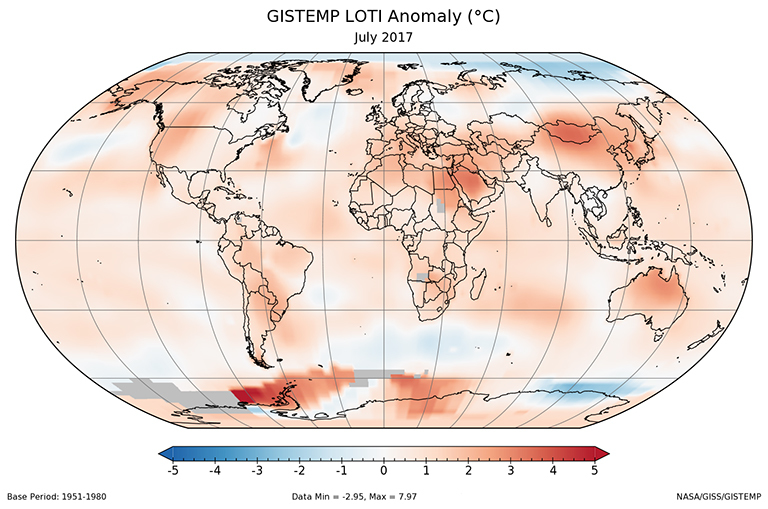 A global map of the June 2017 LOTI (land-ocean temperature index) anomaly, relative to the 1951-1980 June average. View larger image.