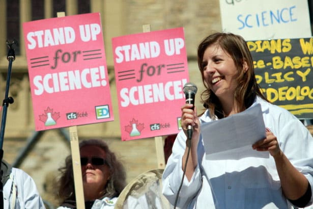 Dr. Katie Gibbs speaks at a Stand Up for Science rally at Parliament Hill in Ottowa last September.