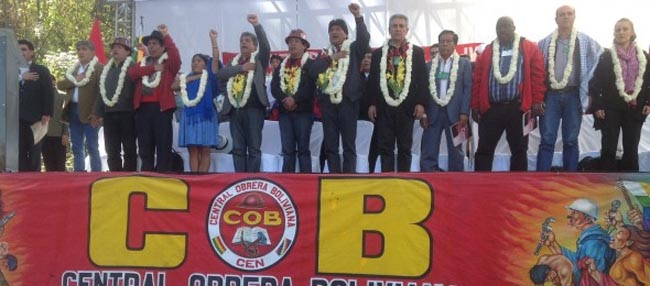 Participants in the 'Anti-Imperialist International Trade Union Conference' in Cochabamba, Bolivia, July 2014.