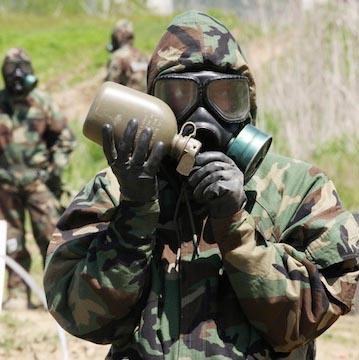 Bio-war gas mask soldier