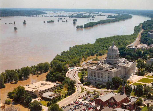 """Flood waters inundated parts of Jefferson City, Missouri, and threatened the Missouri State Capitol during the """"Great Flood of 1993."""""""