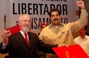 August 2013. Atilio Boron receives the Libertador prize from Venezuelan president Nicolas Maduro
