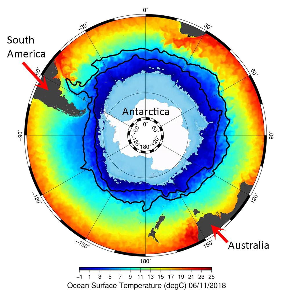 Fig. 2: A satellite view over Antarctica reveals a frozen continent surrounded by icy waters. The sea ice extent is in light blue. Moving northward, away from Antarctica, the water temperatures rise slowly at first and then rapidly across a sharp gradient. The Antarctic Circumpolar Current (ACC) maintains this boundary. The two black lines indicate the long-term position of the southern and northern front of the ACC (Image credit: The Conversation).