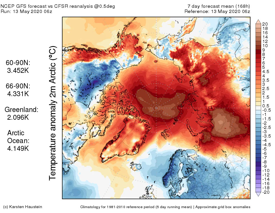 Fig. 7: Arctic temperature anomalies across the Arctic 13 May 2020. The temperatures are in Centigrade. Image: Computer model simulation (Karsten Haustein)/ Washington Post, 14 May 2020)